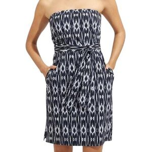 Athleta Anywhere Blue Pattern Strapless Dress